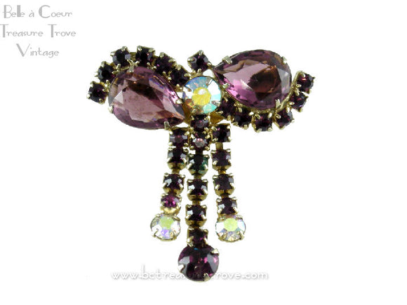 Beautiful Deep Purple Rhinestone Bow Vintage Pin Brooch