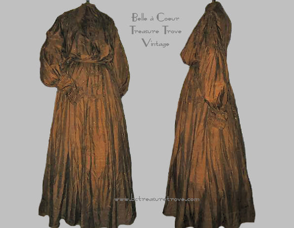 Chocolate Brown Pouter Pidgeon Handkerchief Weight Silk Edwardian Belle Epoque Dress