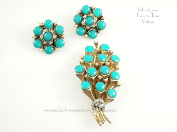 HAR Signed Bouquet Brooch & Earrings Set Turquoise Cabs