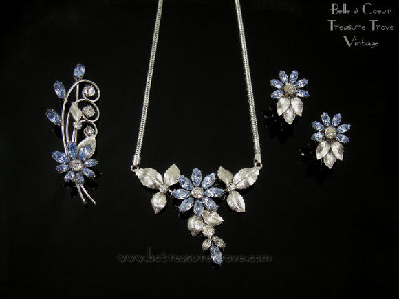 Vintage Krementz Silver Leaves with Light Sapphire Blue Glass Flower Necklace, Brooch, & Earrings Set