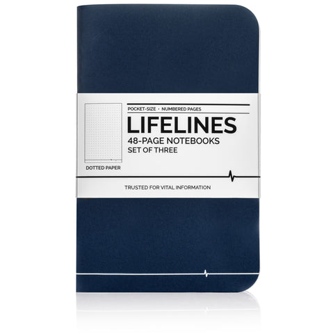 Lifelines Dotted Grid Notebooks | Blue, Set of 3