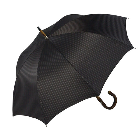 Ombrelli Handcrafted Umbrella with Wood Handle - Gray Pinstripe