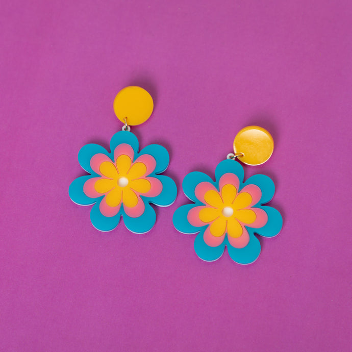 Sixties Inspired Earrings - Acrylic Jewelry, MindFlowers Earrings, MindFlowers Psychedelic Jewelry, Statement, Accessories, Vintage