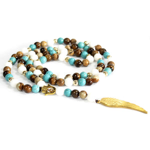 Angel Wing / Multi Beads Gemstone Necklace
