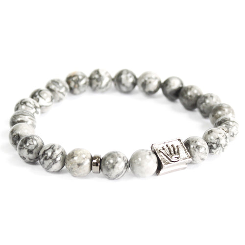 Grey Agate Crown Gemstone Bracelet