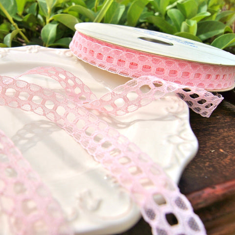 Baby Pink Tiny Galloon Beading Lace Trim