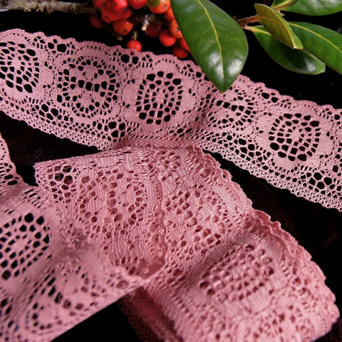Mauve Medallion Floral Lace Trim