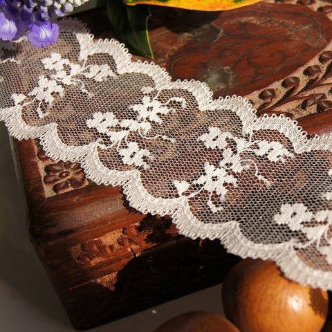 Soft Tulle Floral Galloon Lace Trim