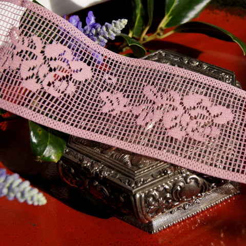 Mauve Roses Insertion Floral Lace Trim