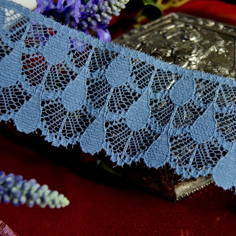 Stone Blue Semi-Stiff Raindrops Lace Trim