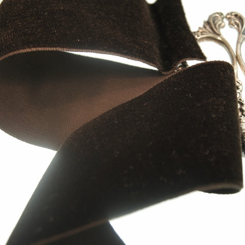 Chocolate Brown Velvet Ribbon Vintage from France 50mm