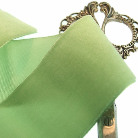 Light Lime Velvet Ribbon Vintage from France 50mm