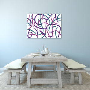 Abstract Brush Strokes Canvas Print - Purple, Teal, Pink