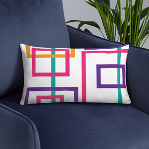 Colorful Squares and Rectangles - Throw Pillow