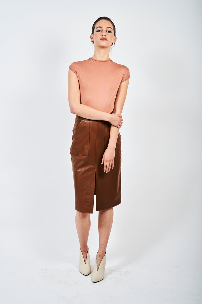 The Leather Midi - Cognac