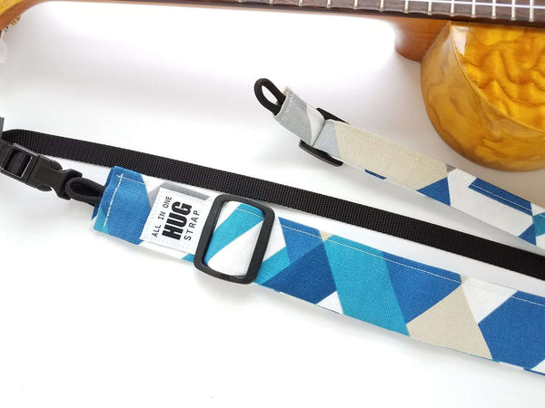 ALL in ONE Hug Strap - Blue, Gray, and White Geometric