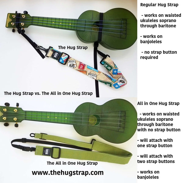ALL in ONE Hug Strap for Ukulele - Pandas on Gray