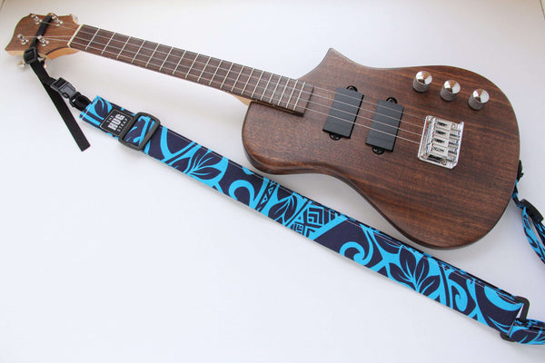 All in One Hug Strap for Ukulele Blue and White Diamonds