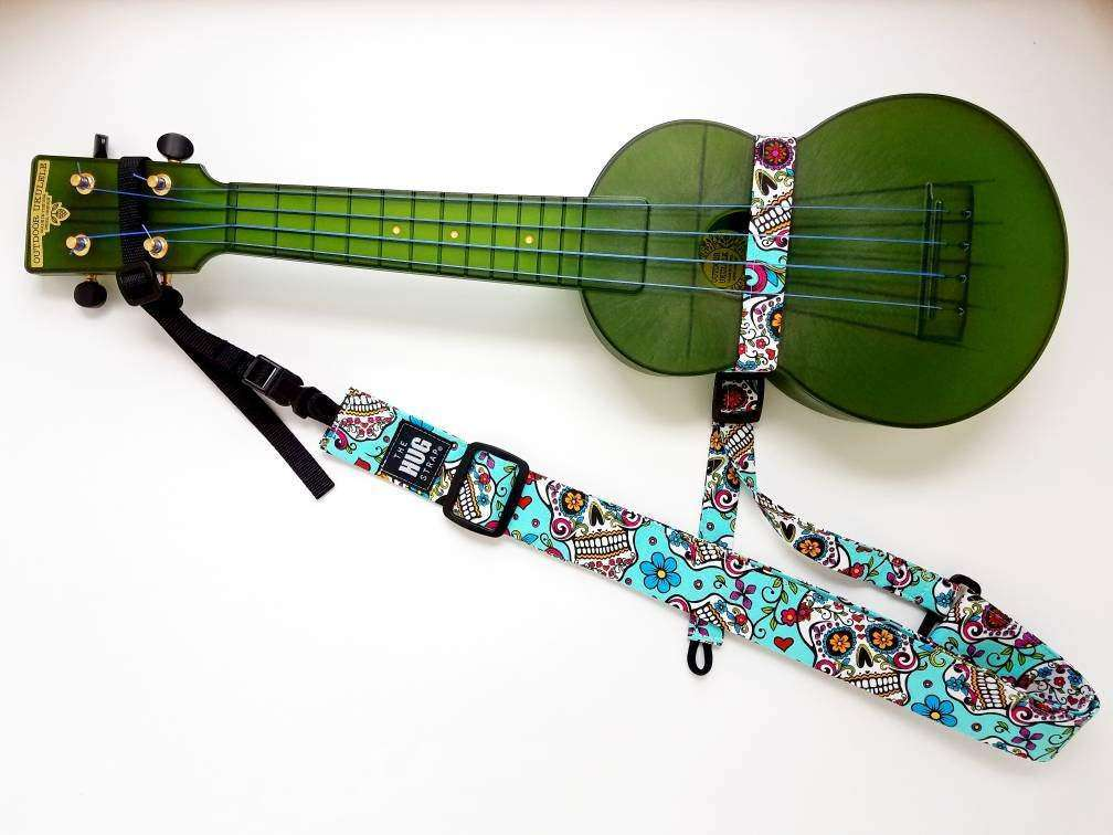 All in One Hug Strap for Ukulele Sugar Skulls on Blue