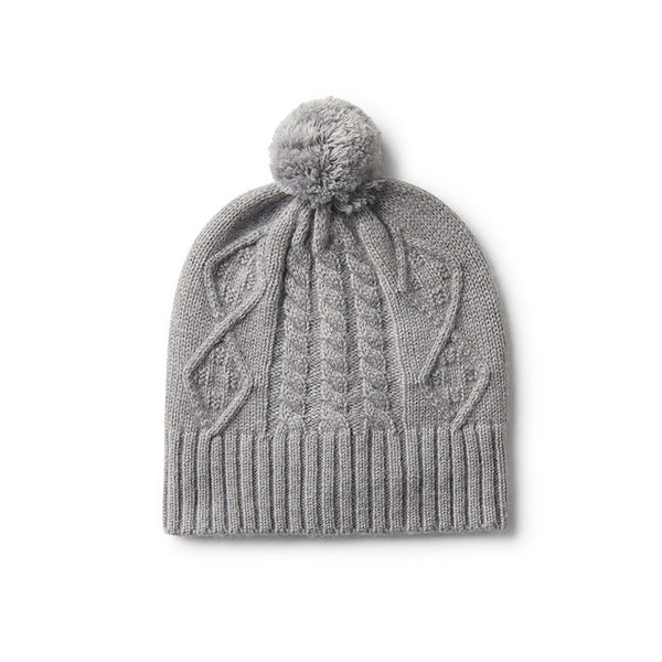 Hat Cable Knit Grey Luxe Pom Pom