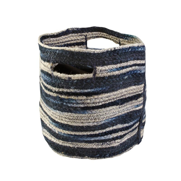 Basket Large Navy Stripe Jute 40cmx40cm