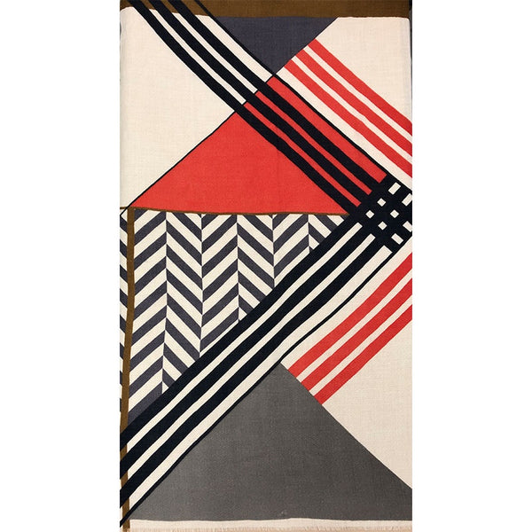 Scarf Epure Wool Grey, Cream, Red Stripes