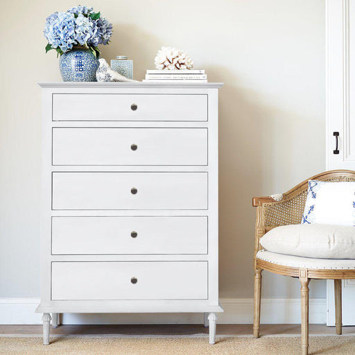 White Tall Boy Chest Of Drawers - 5 Drawer