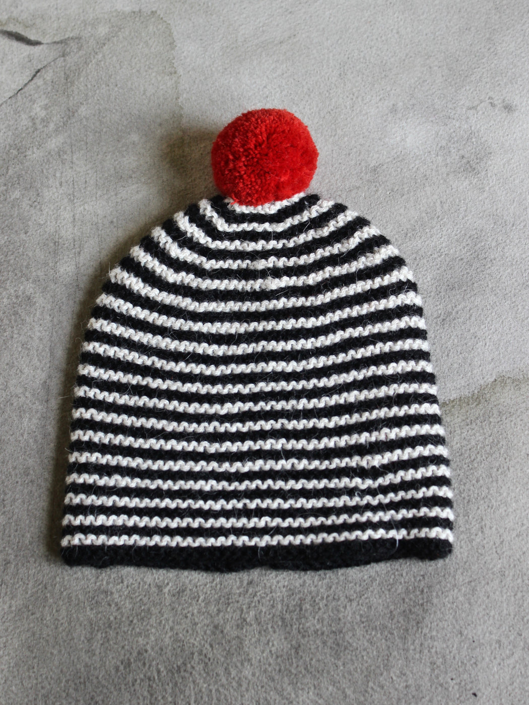 Black and White Striped Alpaca Baby Hat