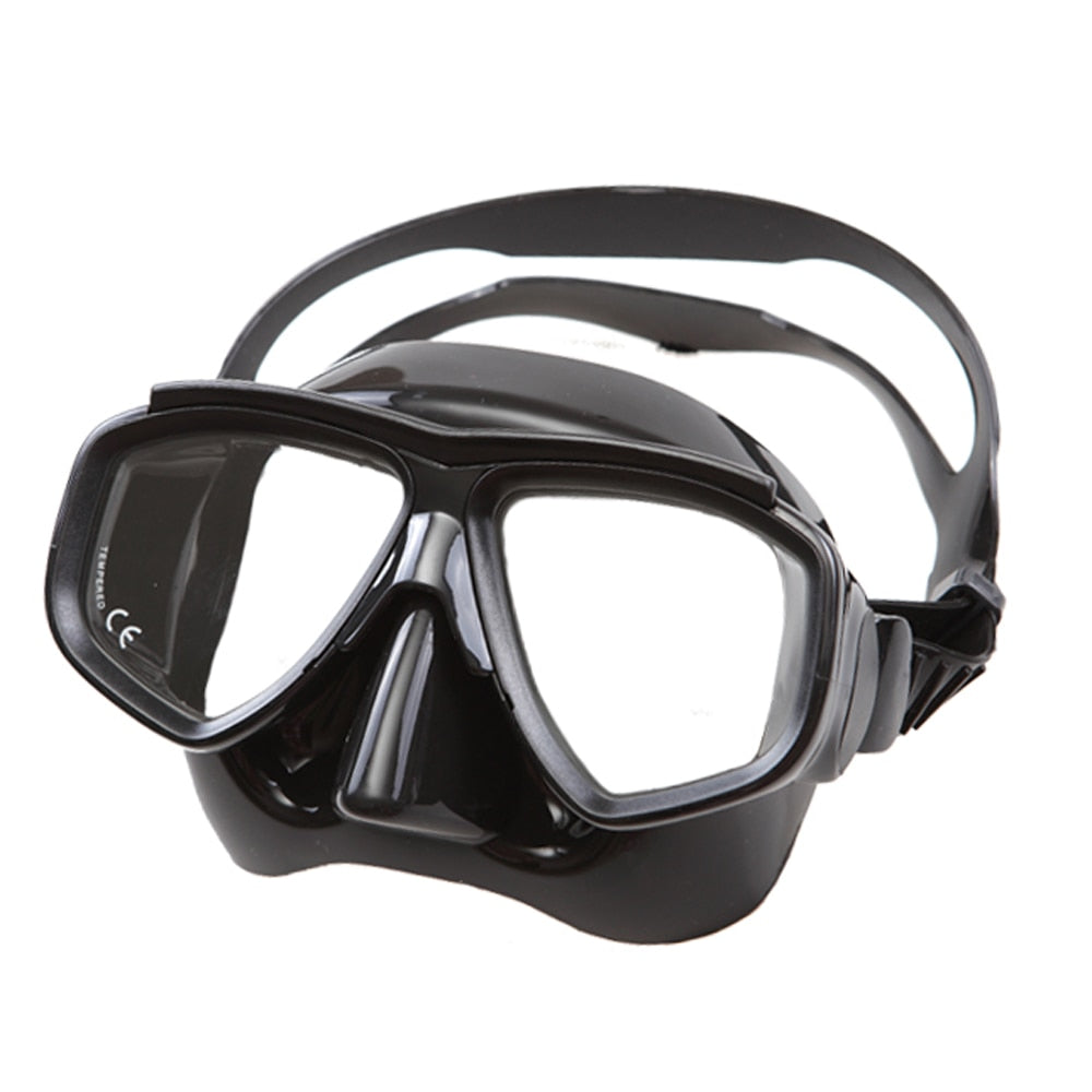 Low profile liquid silicone diving mask tempered glass free dive mask adult spearfishing mask  top freedive gear black dive mask