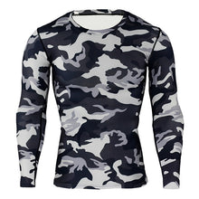 Load image into Gallery viewer, NIBESSER Military Style Long Sleeve T shirts Men Camouflage Quick Dry Elastic Compression 0-Neck Tee Shirt Men Slim Casual Tops