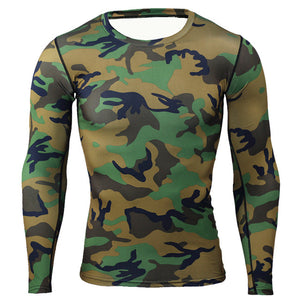 NIBESSER Military Style Long Sleeve T shirts Men Camouflage Quick Dry Elastic Compression 0-Neck Tee Shirt Men Slim Casual Tops