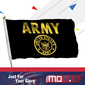 MOFAN US Army Gold Crest Flag -Canvas Header and Double Stitched-US Military Gold with 2 brass grommets 3x5ft Indoor/Outdoor