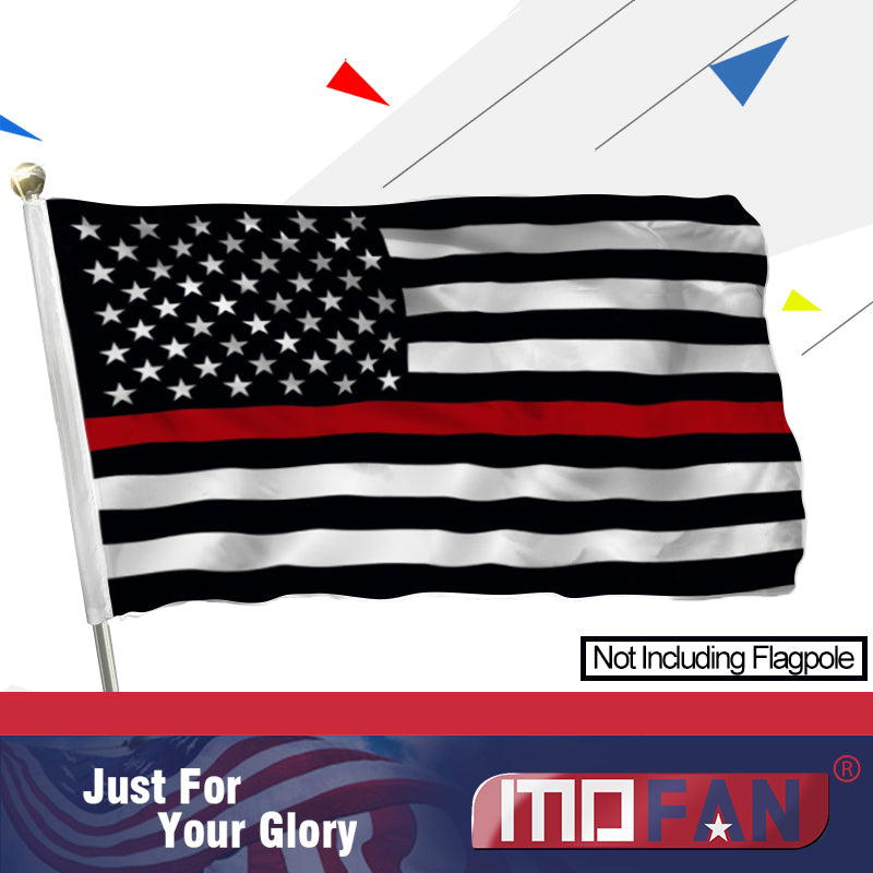 MOFAN Red Line USA Flag Polyester-Honoring Firefighter Military Flags with 2 Brass Grommets 3x5Ft