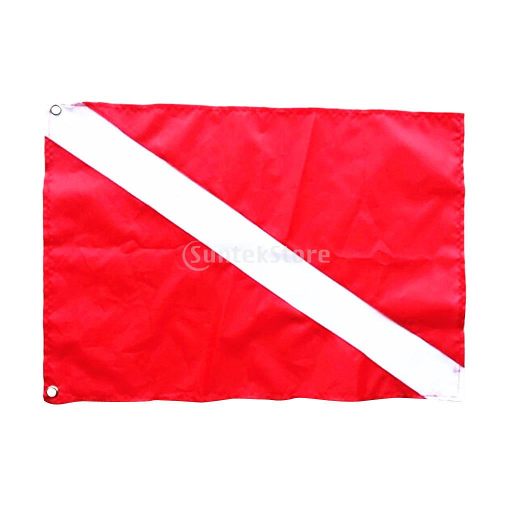 Red & White Polyester Scuba Dive Diver Down Flag Safety Signal Marker Banner Kayak Marine Boat Flag 50 x 35 cm