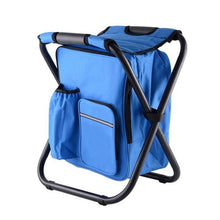 Load image into Gallery viewer, Multi-functional Folding Camping Chair Stool Backpack With Cooler Insulated Picnic Bag Hiking Seat Table Bag Beach Chair