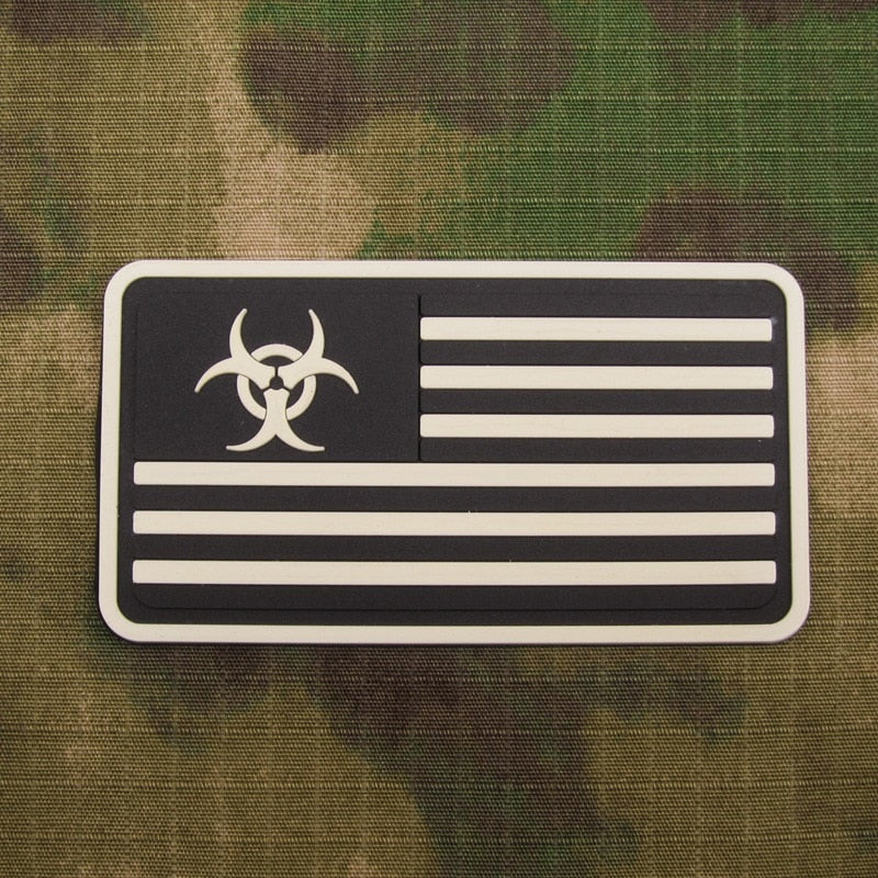 Luminous Resident Evil Umbrella Zombie Hunter American flag Tactical military morale 3D PVC patch PB1143