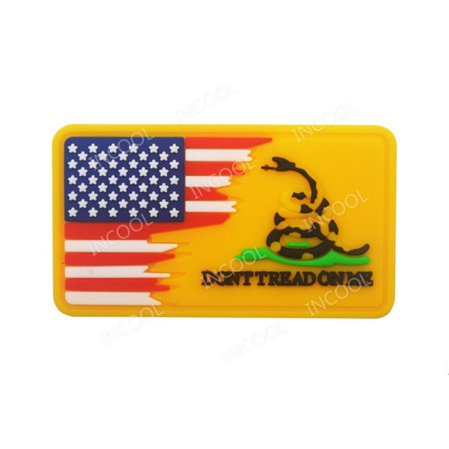 3D PVC Patch Blue Line US Flag Don't Tread on Me Military Snake Morale Patch Tactical Badges Rubber Flags Patches Drop Shipping