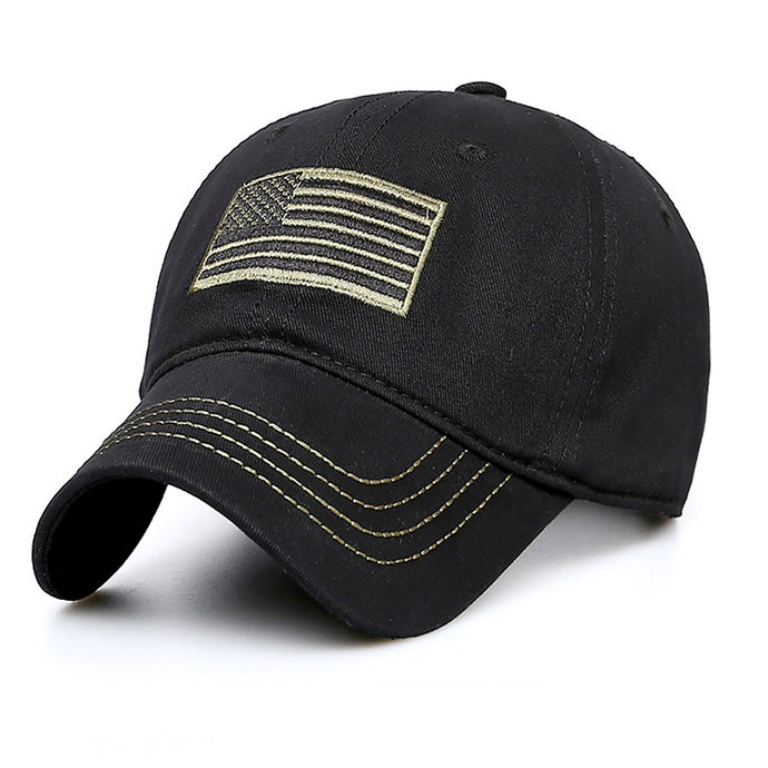 Men Women Wide Brim Military Hiking Camping Snapback Casual Baseball Cap Adjustable Sports Fishing Flag Pattern Hat Camouflage