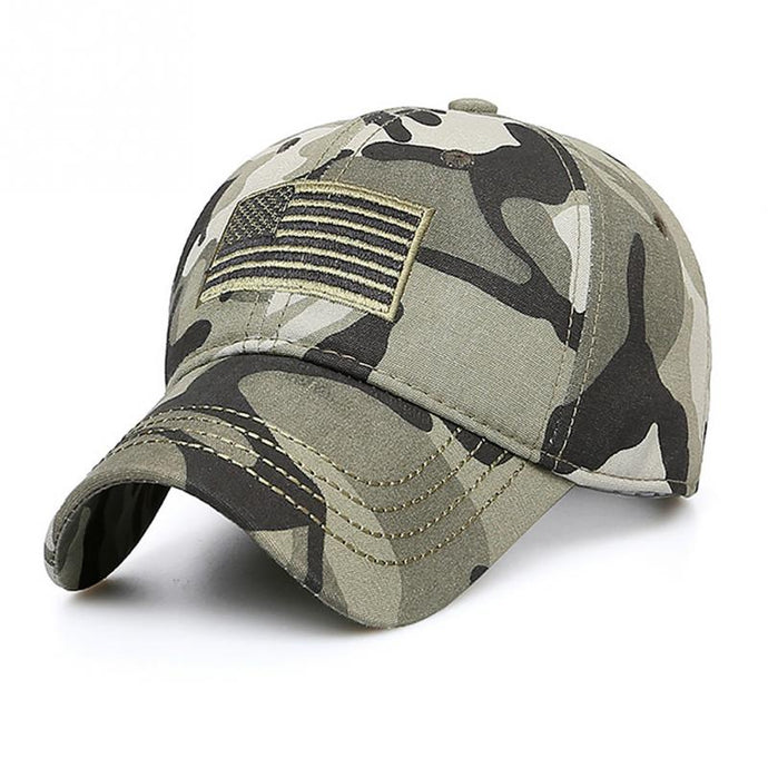 Men Women Casual Camping Flag Pattern Adjustable Outdoor Sports Military Snapback Hat Camouflage Hiking Baseball Cap Fishing