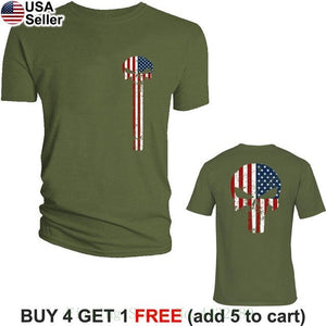 The Punisher American Flag T Shirt Military Skull Us Army Usa Pride Distressed Print Casual T-shirt Men Brand