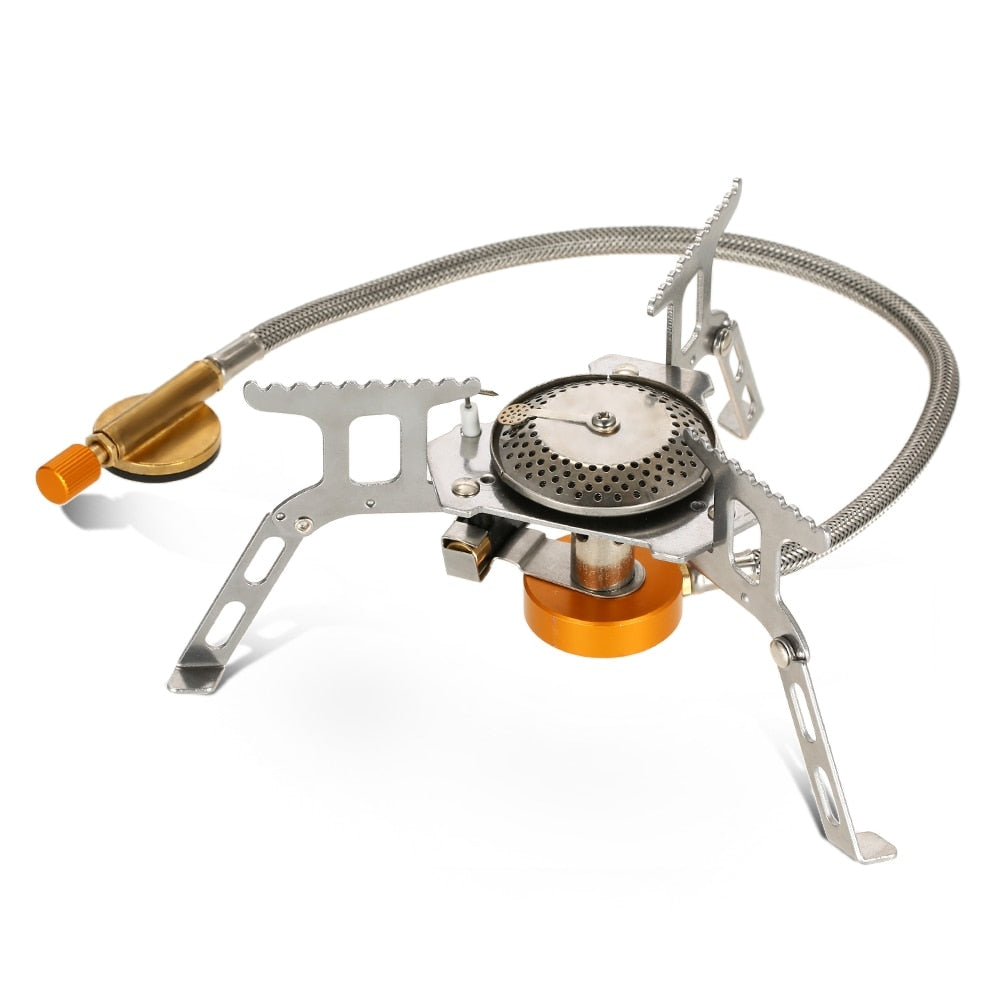 Split Type Mini Foldable Portable Stainless Steel Gas Stove Furnace Butane Propane Stove for Outdoor Cooking Camping