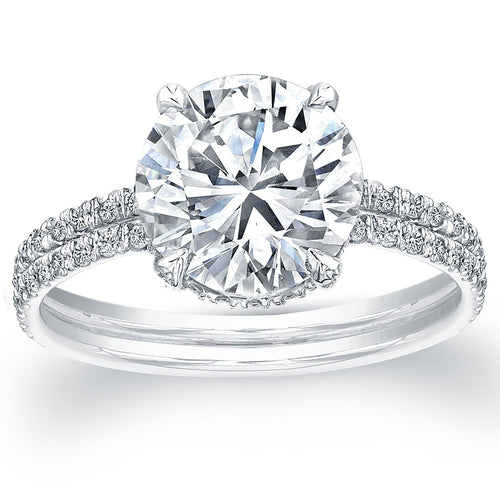 Round Solitaire Two Row Diamond Engagement Ring