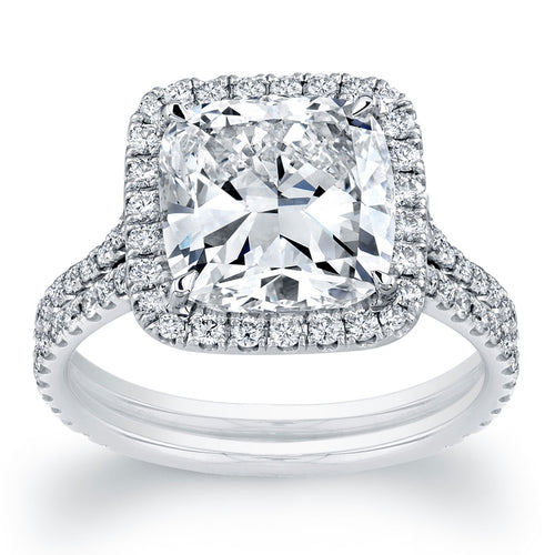Cushion Cut Halo Double Engagement Ring
