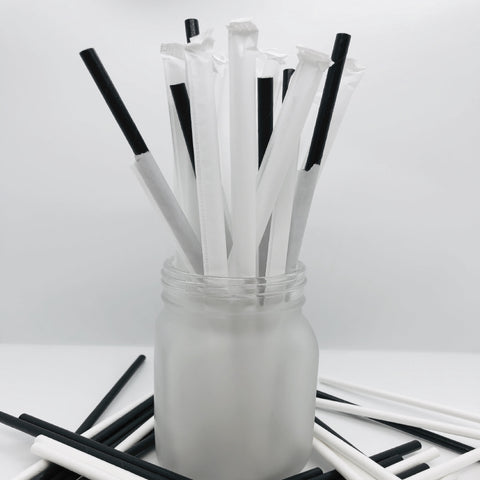"7.75"" 6mm Black Wrapped Paper Straws - 10,000 per case"