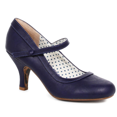 Image of the Bettie Page Mary Jane Shoes in Navy