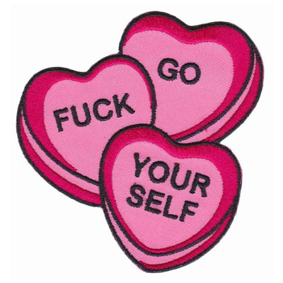 Image of Sourpuss Candy Hearts Iron On Patch