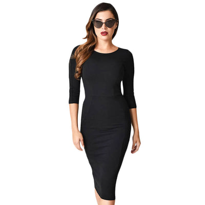 Image of Unique Vintage Mod Wiggle Dress - Black