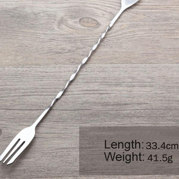 YIBO 1Pc Stainless Steel Dual-Head Cocktail Picks Threaded Bar Spoon Swizzle Coffee Cocktail Mojito Wine Spoon Barware Bartender-modlily