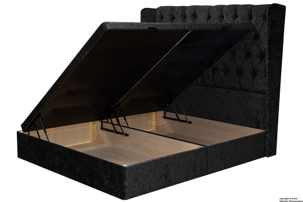 Elizabeth Winged Buttoned Crushed Velvet Bed - Ebony