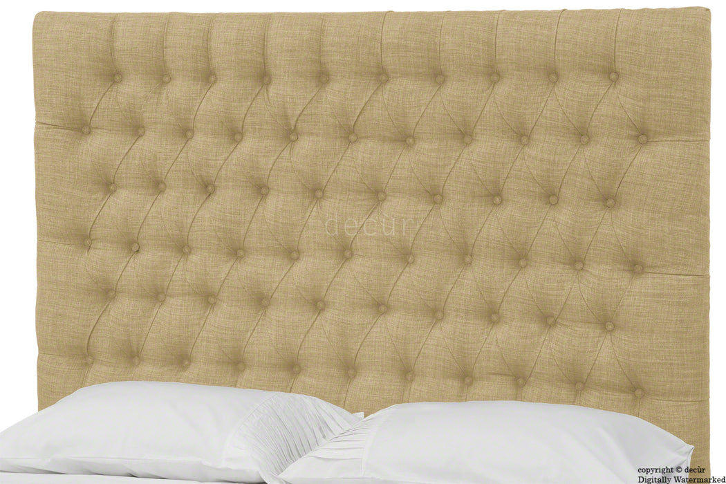 Kensington Linen Upholstered Ottoman Bed - Honey